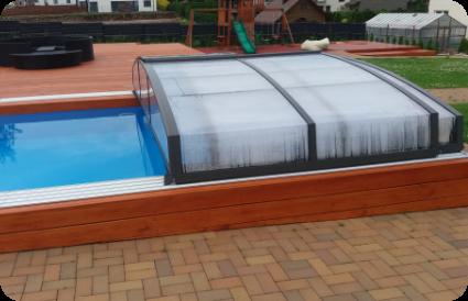 Teleskopinis baseino uždengimas - baseino stogas- atidarytas baseinas aqua spektras