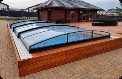Teleskopinis baseino uždengimas - baseino stogas- pilnai uždengtas baseinas aqua spektras