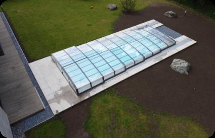 Teleskopinis baseino uždengimas - pilnai uždengtas baseinas aqua spektras