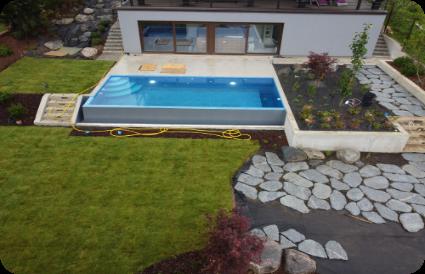 lauko baseinas gerbūvio darbai baseino apdaila gražus lauko baseinas aqua spektras