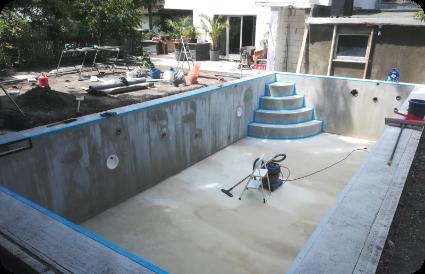 Lauko baseinas statybos eiga su plaukimo priešsrove